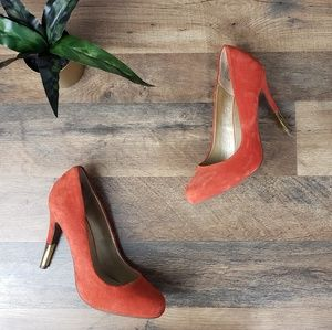 Seychelles Burnt Orange Suede Gold Tip High Heels